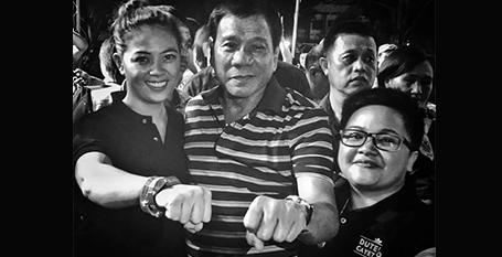 Aiza Seguerra and Liza Diño-Seguerra pictured with Rodrigo Duterte